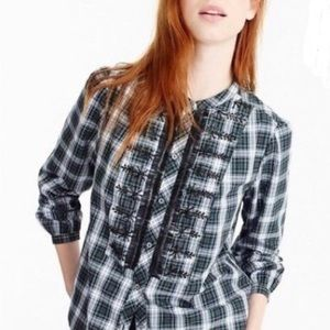 J Crew Embellished button plaid blouse size S